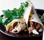 Chicken enchiladas with red mole sauce