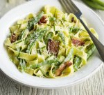 Fettuccine with beans and pancetta