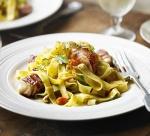 Fettuccine with seared scallops and prosciutto