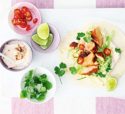 Grilled salmon tacos with chipotle lime yogurt