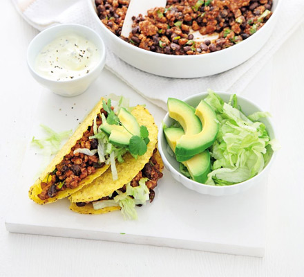 Smoky pork and black bean tacos