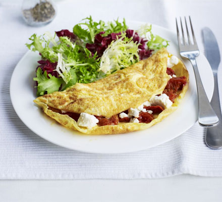 Feta and semi-dried tomato omelette