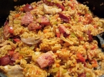 Sausage and prawn jambalaya