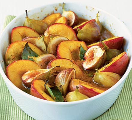 Spice roasted fruits with honey & orange sauce