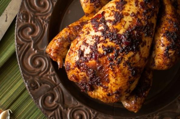 Sticky chilli roast chicken