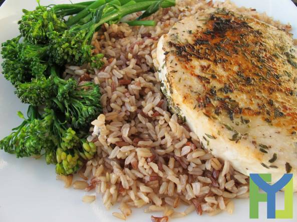 Swordfish Steaks with Rice