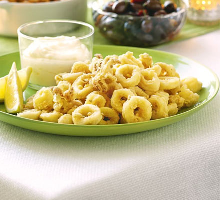 Crispy squid with capers