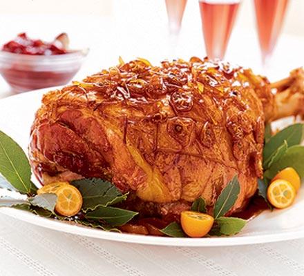Christmas ham with sticky ginger glaze
