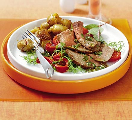 Beef salad with caper and parsley dressing