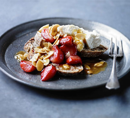 Strawberry brunch bruschettas