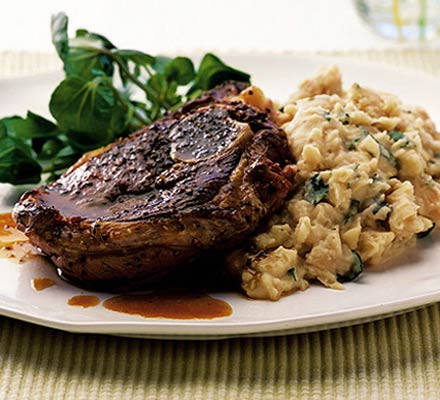 lamb and minty butter bean mash